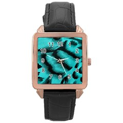 Blue Background Fabric Tiger  Animal Motifs Rose Gold Leather Watch
