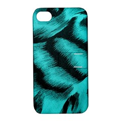 Blue Background Fabric Tiger  Animal Motifs Apple Iphone 4/4s Hardshell Case With Stand