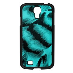Blue Background Fabric Tiger  Animal Motifs Samsung Galaxy S4 I9500/ I9505 Case (black)