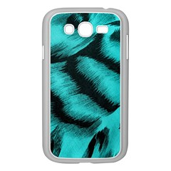 Blue Background Fabric Tiger  Animal Motifs Samsung Galaxy Grand Duos I9082 Case (white)