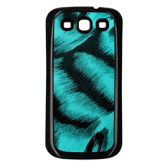 Blue Background Fabric Tiger  Animal Motifs Samsung Galaxy S3 Back Case (black)