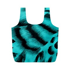 Blue Background Fabric Tiger  Animal Motifs Full Print Recycle Bags (m)
