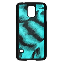Blue Background Fabric Tiger  Animal Motifs Samsung Galaxy S5 Case (black)