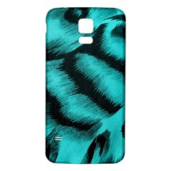 Blue Background Fabric Tiger  Animal Motifs Samsung Galaxy S5 Back Case (white)
