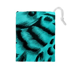 Blue Background Fabric Tiger  Animal Motifs Drawstring Pouches (large)