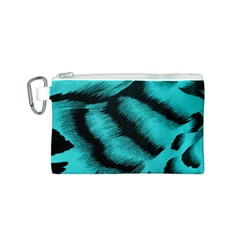 Blue Background Fabric Tiger  Animal Motifs Canvas Cosmetic Bag (s)
