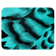 Blue Background Fabric Tiger  Animal Motifs Double Sided Flano Blanket (medium)