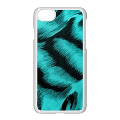 Blue Background Fabric Tiger  Animal Motifs Apple Iphone 7 Seamless Case (white)