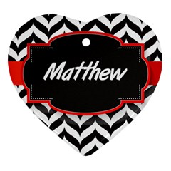 Pattern Black 1 Heart Ornament (two Sides)