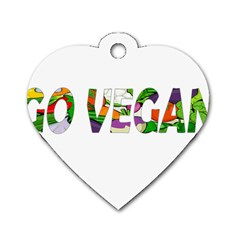 Go vegan Dog Tag Heart (Two Sides)