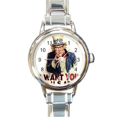 Uncle Sam Round Italian Charm Watch
