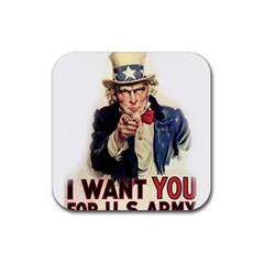 Uncle Sam Rubber Square Coaster (4 pack)