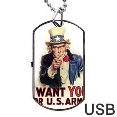 Uncle Sam Dog Tag USB Flash (One Side)
