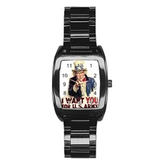 Uncle Sam Stainless Steel Barrel Watch