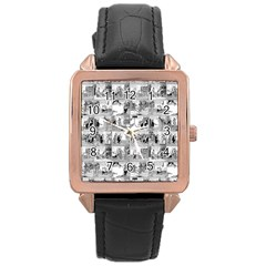 Old comic strip Rose Gold Leather Watch