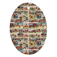 Old comic strip Oval Ornament (Two Sides)