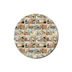 Old comic strip Rubber Round Coaster (4 pack)