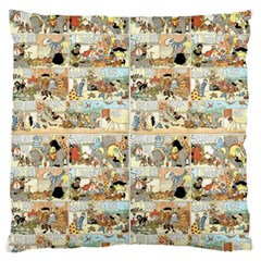 Old comic strip Large Flano Cushion Case (One Side)