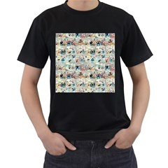 Old comic strip Men s T-Shirt (Black) (Two Sided)
