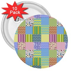 Old Quilt 3  Buttons (10 pack)