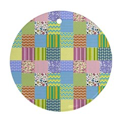 Old Quilt Round Ornament (Two Sides)