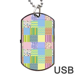 Old Quilt Dog Tag USB Flash (One Side)