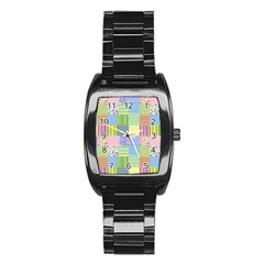 Old Quilt Stainless Steel Barrel Watch