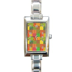 Old Quilt Rectangle Italian Charm Watch