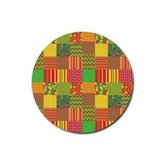 Old Quilt Rubber Coaster (Round)