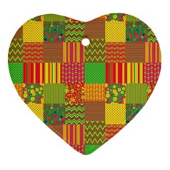 Old Quilt Heart Ornament (Two Sides)