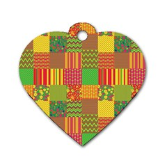 Old Quilt Dog Tag Heart (One Side)