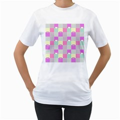 Old Quilt Women s T-Shirt (White) (Two Sided)