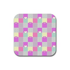 Old Quilt Rubber Square Coaster (4 pack)