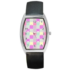 Old Quilt Barrel Style Metal Watch