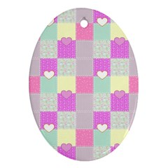 Old Quilt Oval Ornament (Two Sides)