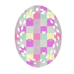 Old Quilt Oval Filigree Ornament (Two Sides)