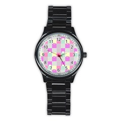 Old Quilt Stainless Steel Round Watch