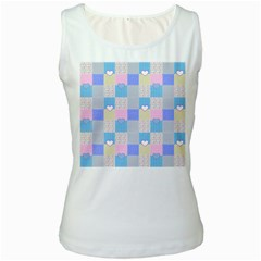 Patchwork Women s White Tank Top