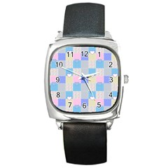 Patchwork Square Metal Watch