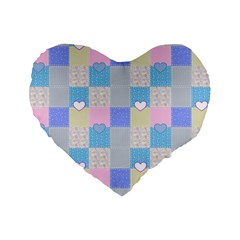 Patchwork Standard 16  Premium Flano Heart Shape Cushions