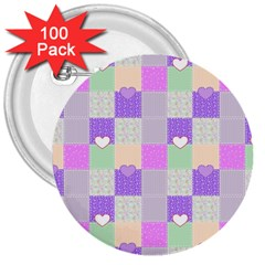 Patchwork 3  Buttons (100 pack)