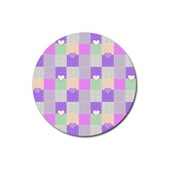 Patchwork Rubber Round Coaster (4 Pack)