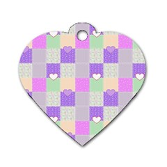 Patchwork Dog Tag Heart (One Side)