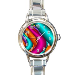 Fractal Wallpaper Color Pipes Round Italian Charm Watch