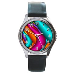 Fractal Wallpaper Color Pipes Round Metal Watch
