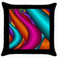 Fractal Wallpaper Color Pipes Throw Pillow Case (black)