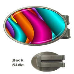 Fractal Wallpaper Color Pipes Money Clips (Oval)