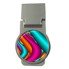 Fractal Wallpaper Color Pipes Money Clips (round)