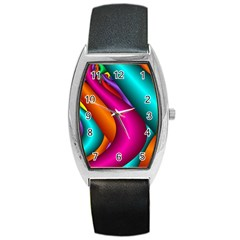 Fractal Wallpaper Color Pipes Barrel Style Metal Watch