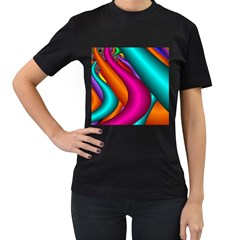 Fractal Wallpaper Color Pipes Women s T Shirt (black) (two Sided)